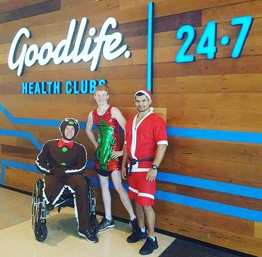 I never take life seriously. My brother Owen,my PT and I dressed up for a Christmas themed workout session. I went as a one legged gingerbread man. You've never seen a one legged gingerbread man out squat a big bloke with two legs.