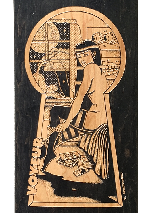 Chopping Jerks engraved skateboard