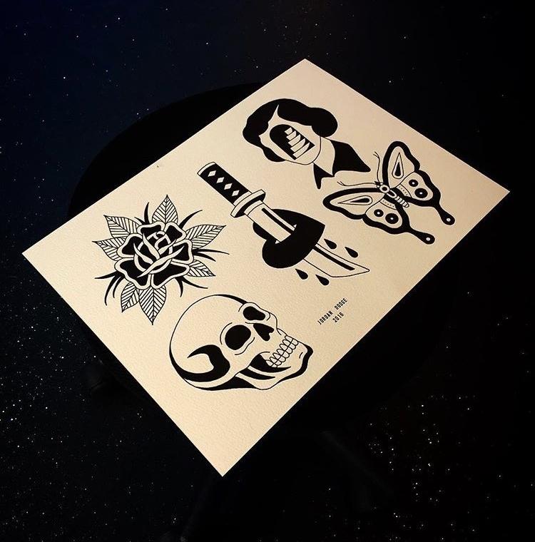 Flash tattoo sheet from Jordan Dodge