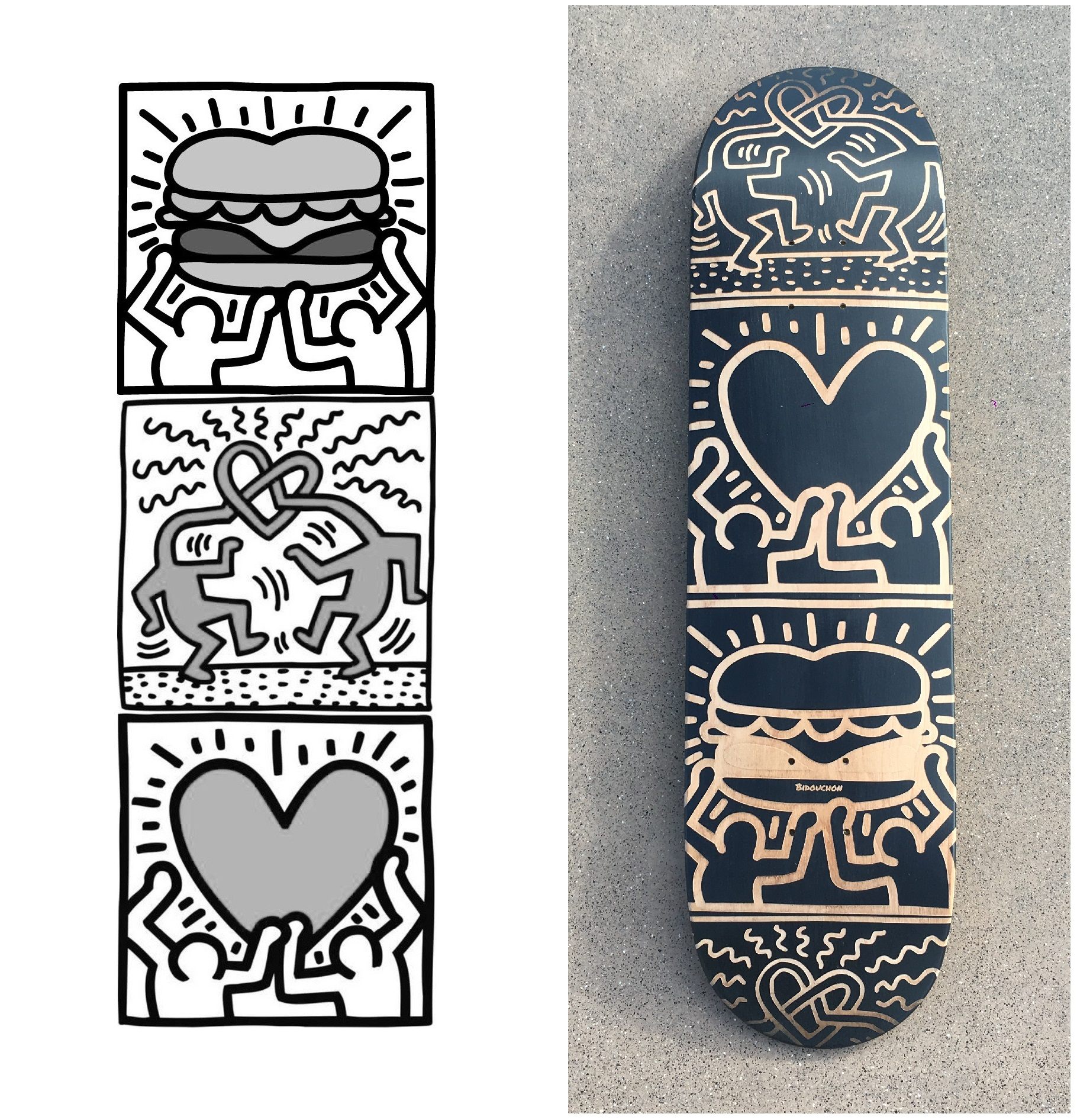 The file of the customisation worked on Photoshop and the result on a skateboard with the laser engraving technic