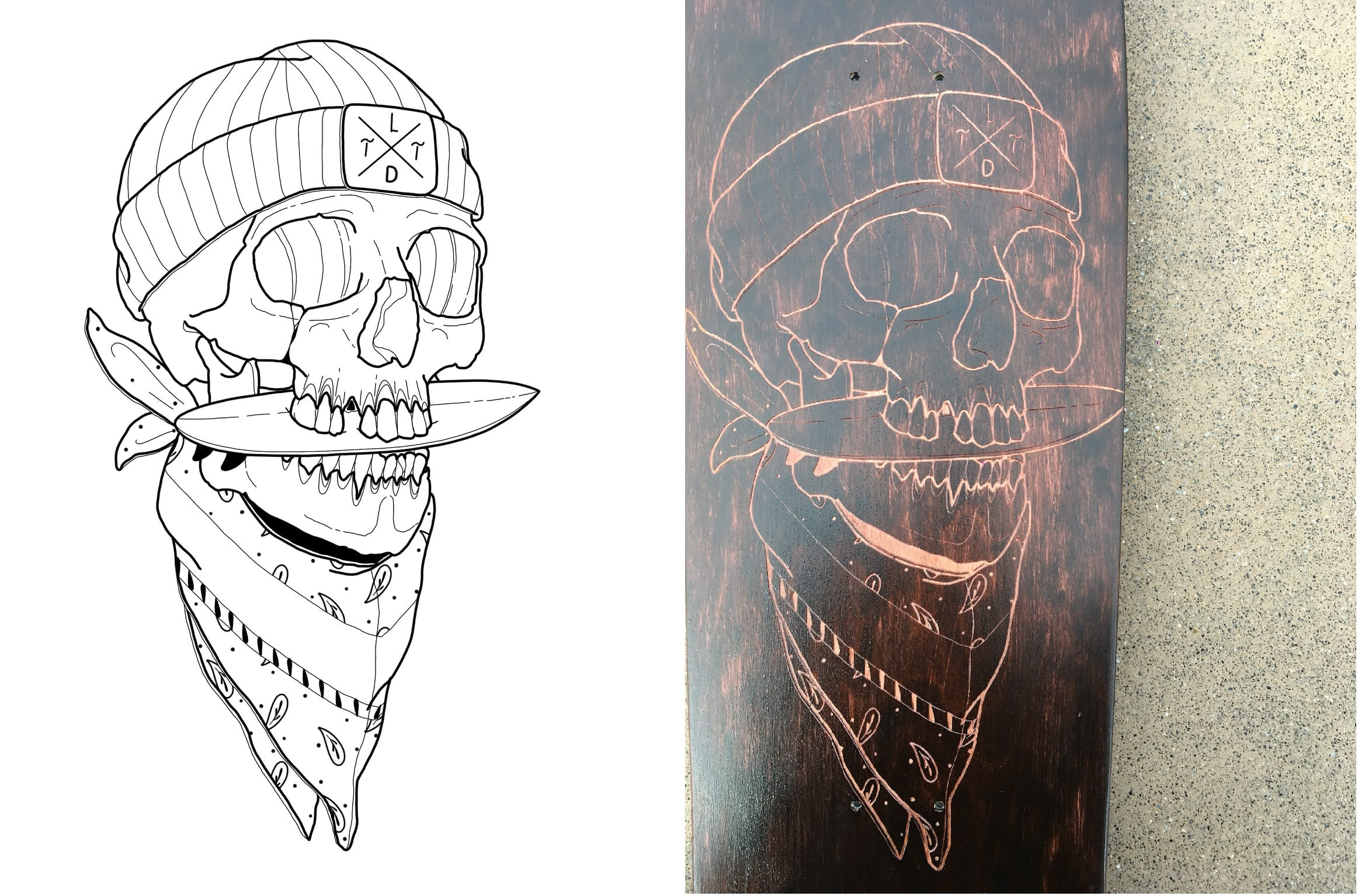 The original logo and the laser etching on the red tainted skateboard