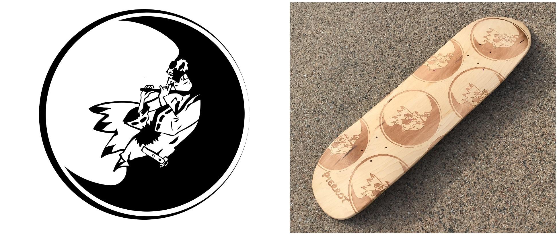 Le logo original et le cruiser custom de Shanny pour Pierrot