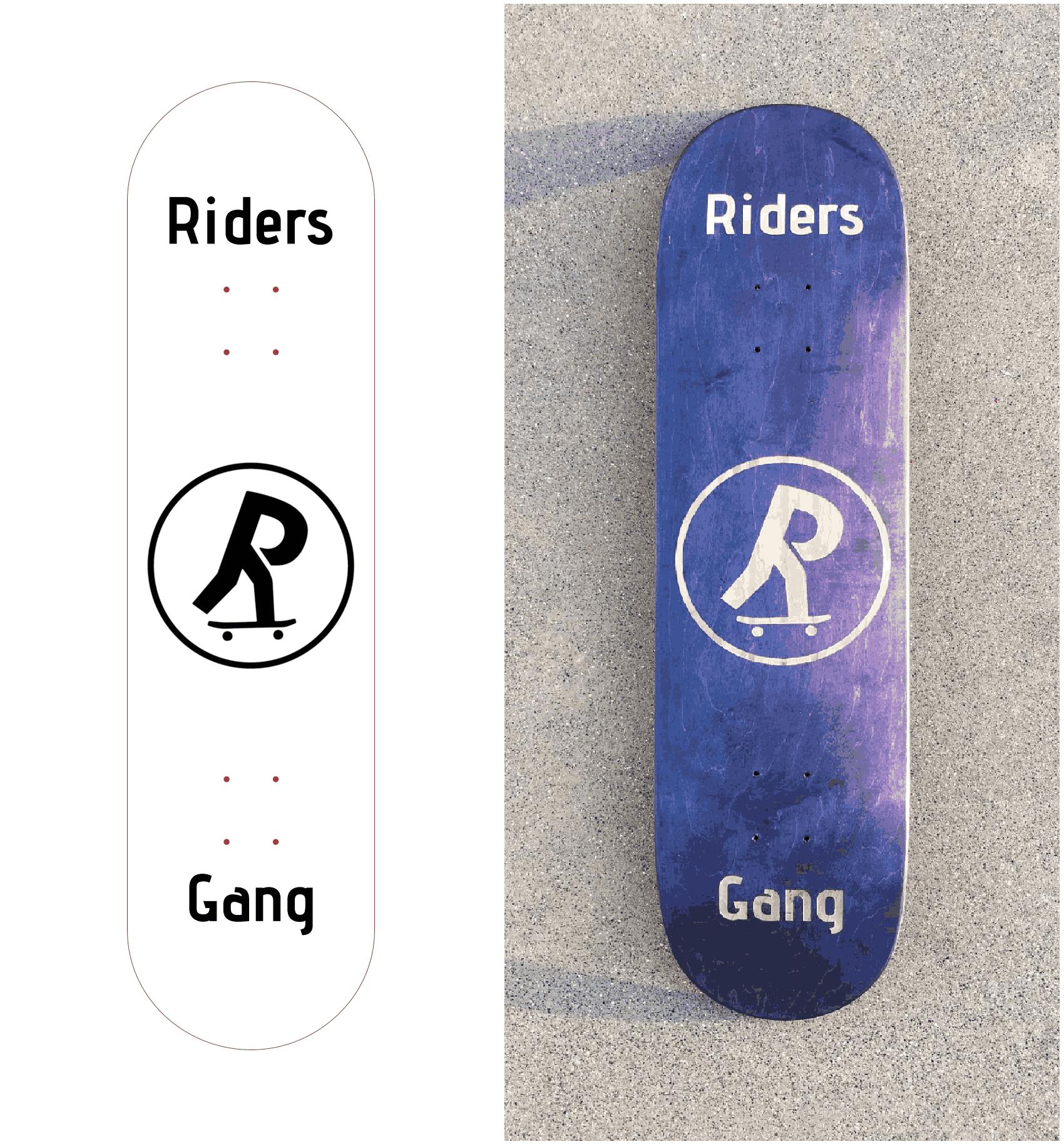 Le fichier original pour la personnalisation et le résultat sur le skateboard