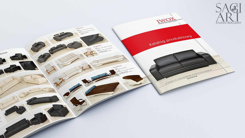 Projekt + wydruk katalogów w formacie A4 z uszlachetnoną okładką folia matową oraz lakierem uv.