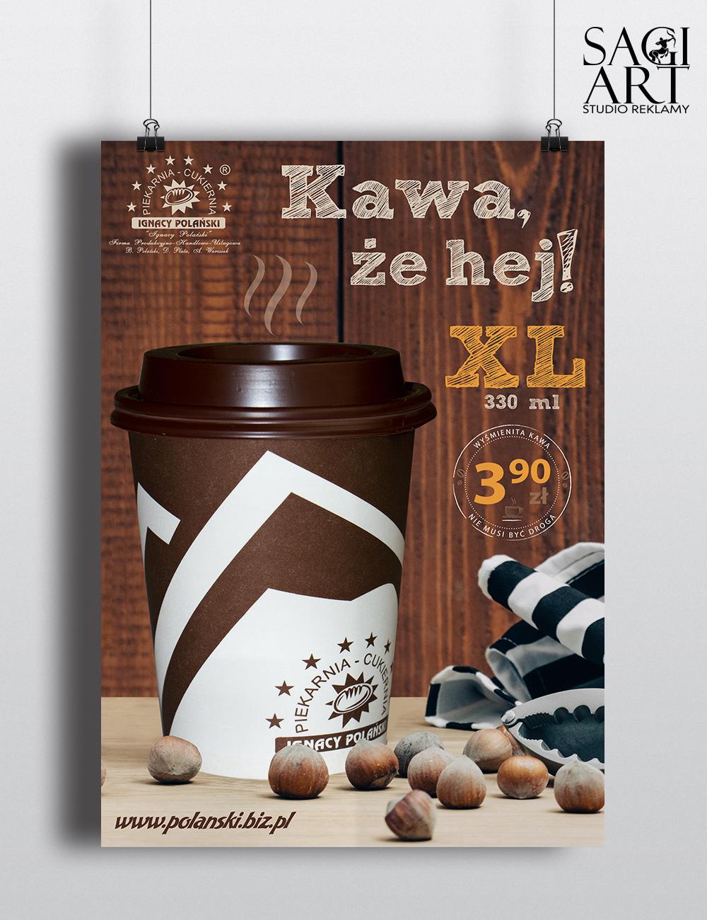Przygotowanie graficzne + wydruk plakatów A3 oraz A2 promujących gorące napoje w restauracji Polański w Makowie