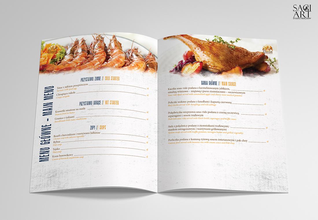 Przygotowanie graiczne kart menu wraz z drukiem. Format 250x210mm