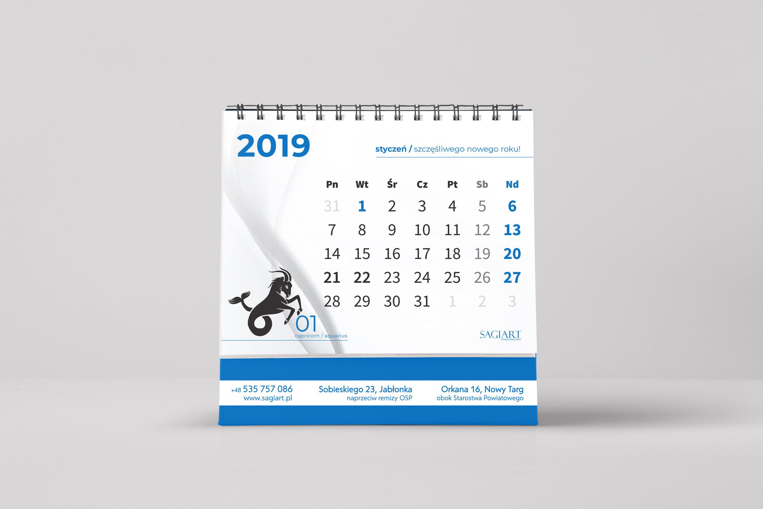 Przygotowanie graficzne oraz druk kalendarzy biurkowych. Okładka karton Artika 270g, strony kreda mat 200, spirala, bigowanie,