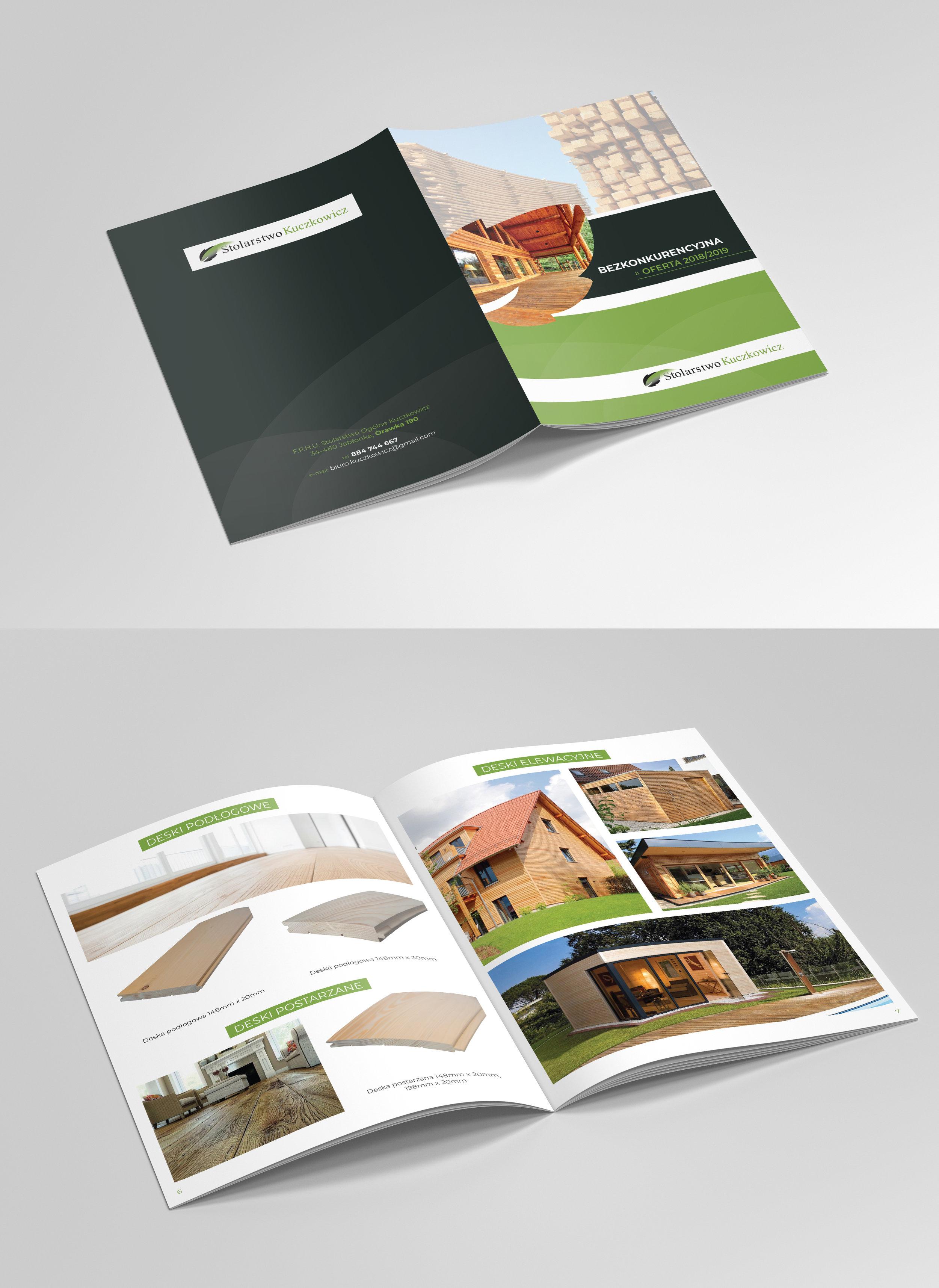 Przygotowanie graficzne i druk katalogów A4. Papier kredowy, okłądka foliowana soft touch + lakier uv.