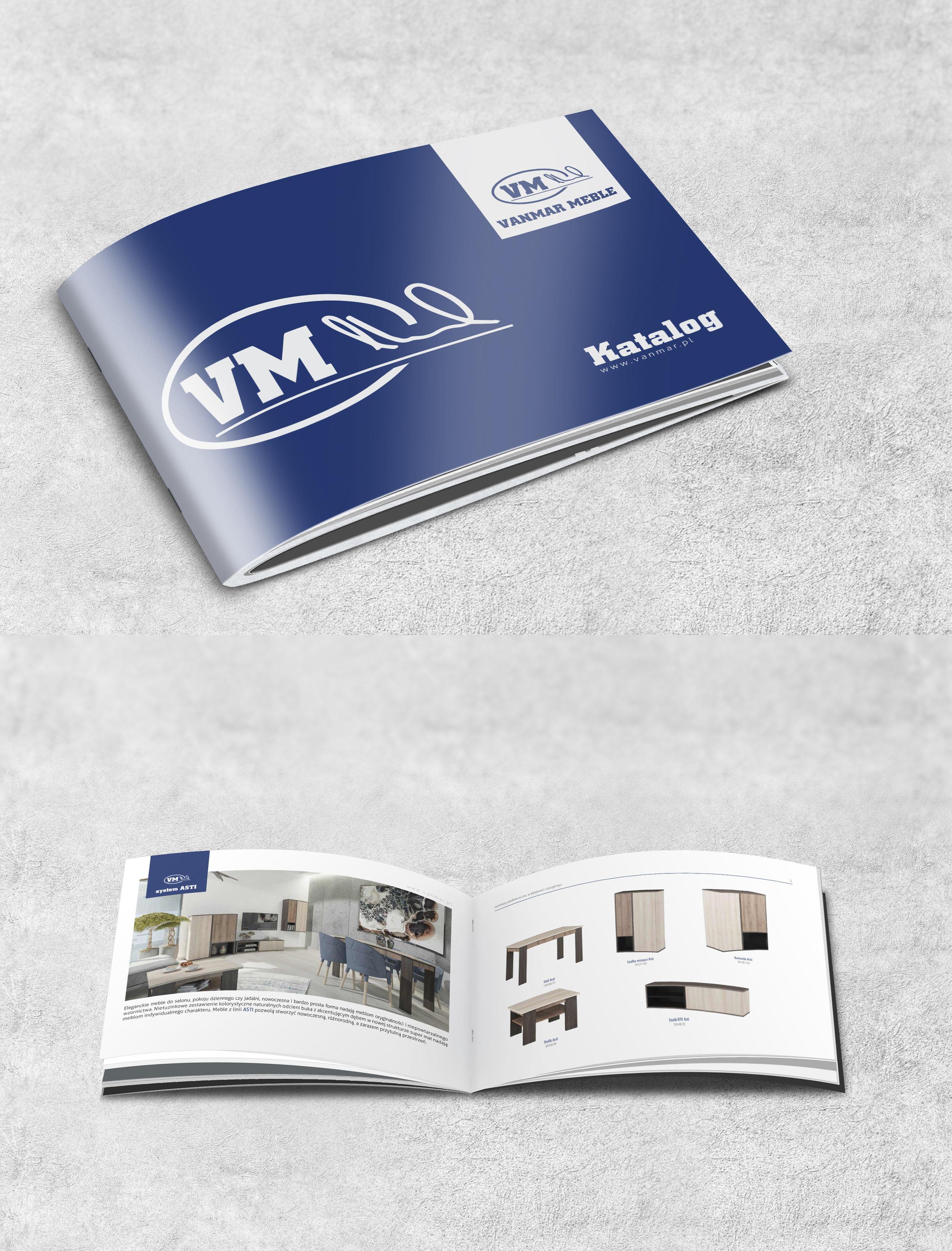 Przygotowanie graficzne + druk katalogów A4. Orientacja pozioma. Papier kredowy, okładka foliowana folia matową + lakier uv