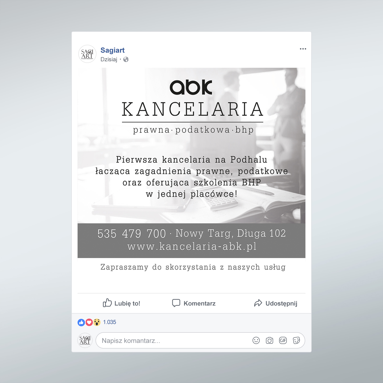 post na Fb dla kancelarii ABK