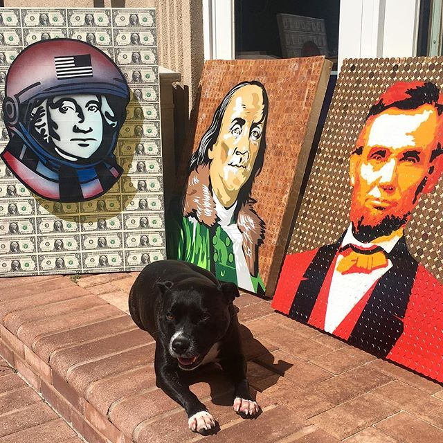 Photo shoot jn natural light with my guard watching over the dead presidents on pennies/ dollars and scrabble pieces #resinart #nyc #canvas #graffitiart #streetart #urban #wallart #spraypaint #mural #murals #painting #artwork #artshow #artgallery #modernart #abstract #sculpture #artnews  #dogs  #staffy #origami #artcollector #lennyachan visit www.lennyachan.com