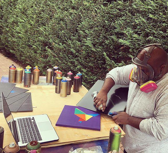 Action shot on this perfect October morning #fineart #contemporaryart #nyc #canvas #graffitiart #streetart #urban #wallart #spraypaint #mural #murals #painting #artwork #artshow #artgallery #modernart #abstract #sculpture #artnews  #dogs  #origami #artcollector #lennyachan visit www.lennyachan.com