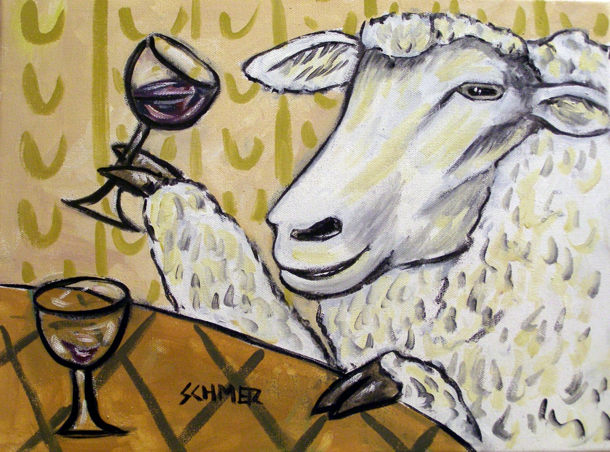 """Sheep at the Wine Bar"" by Jay Schmetz   jayschmetzart.com"