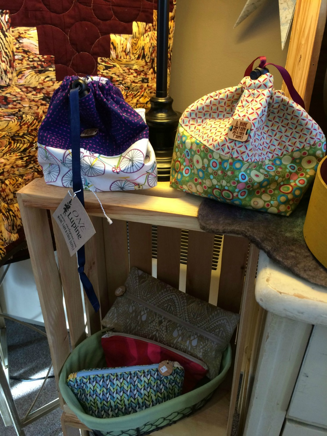 reversible drawstring project bags & notions zipper pouches