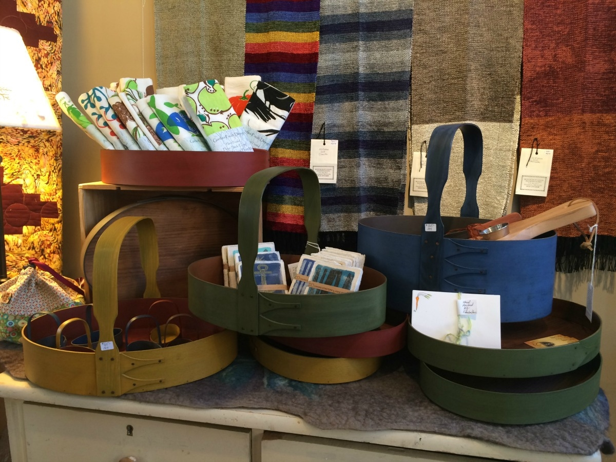 Lehay's shaker boxes & baskets; Garden fresh dish towels; coasters by addie peet; scarves by mostrom & chase