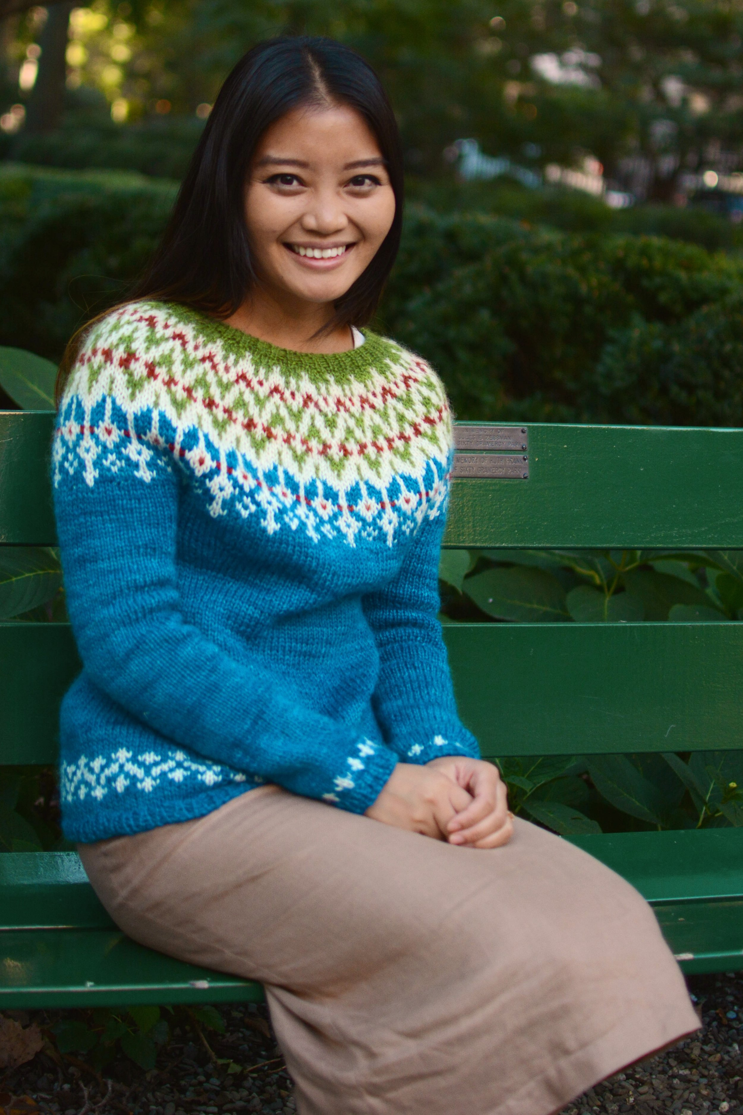 September House Sweater shown in Point of Maine-with ease.