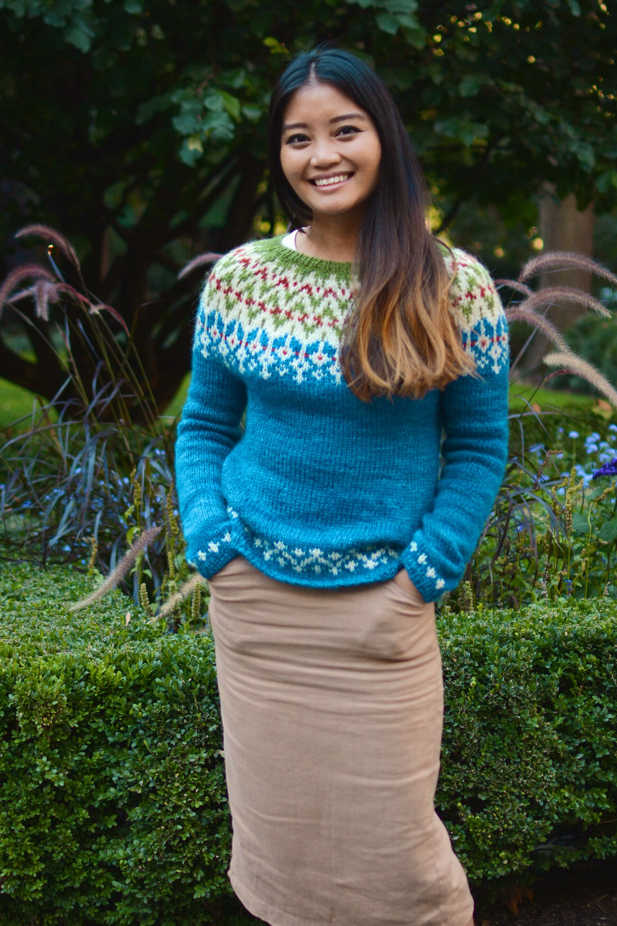 September House Sweater, shown in Point of Maine, positive ease