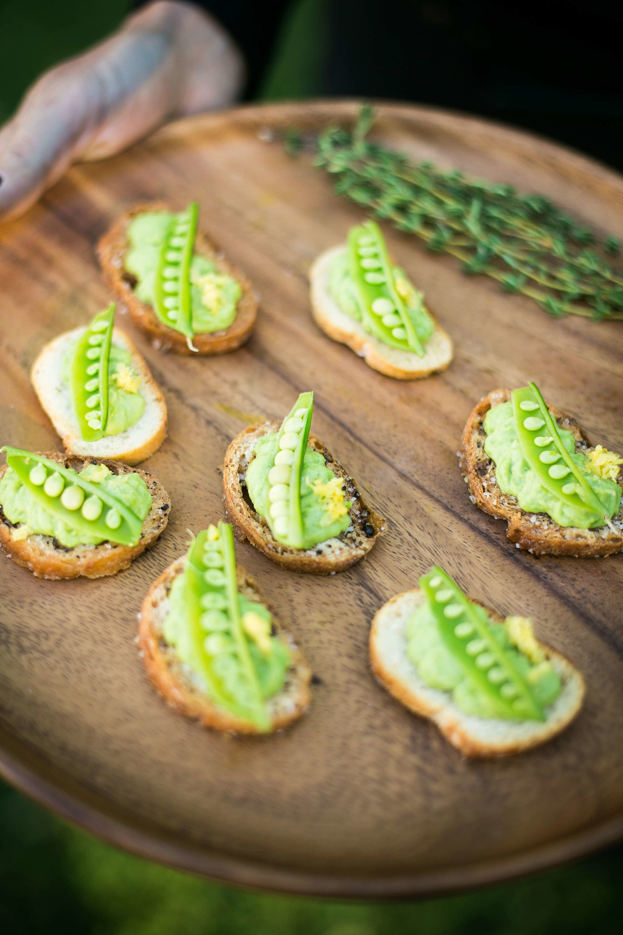 Sweet Pea & Ricotta Crostini by Dish Food & Events Catering