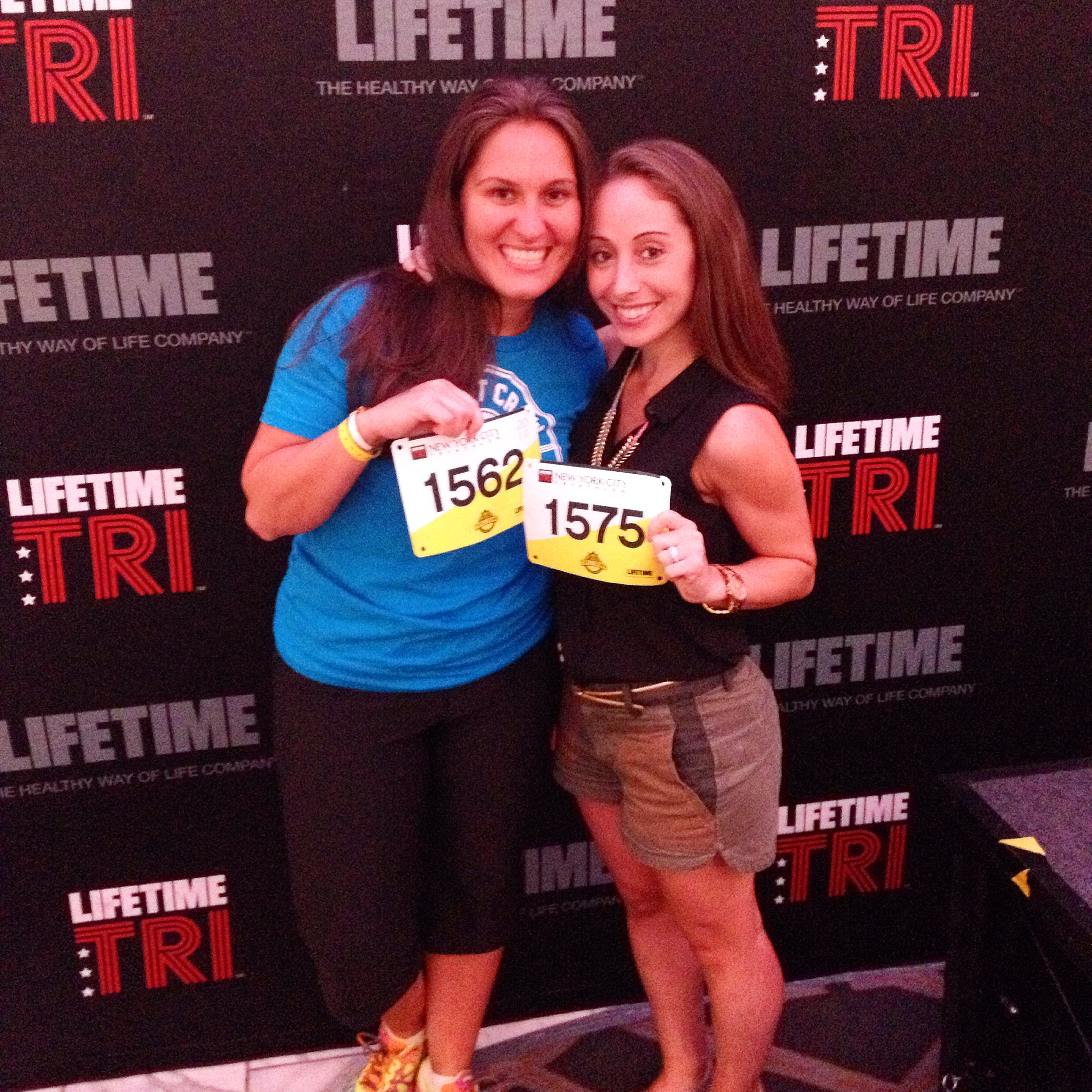 Hayley and I pick up our bibs for NYC Tri '14