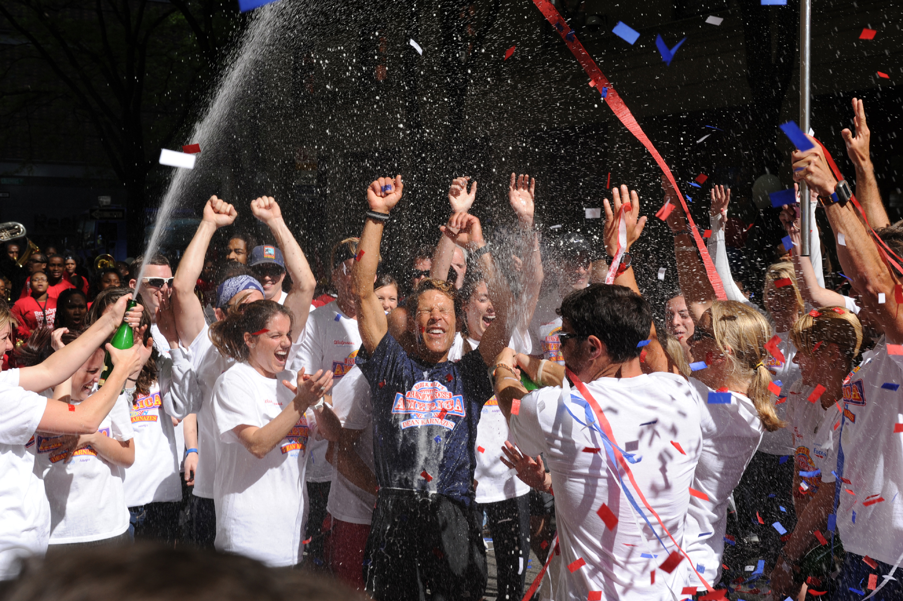 The sweet taste of champagne at the finish in NYC, May 10, 2011.