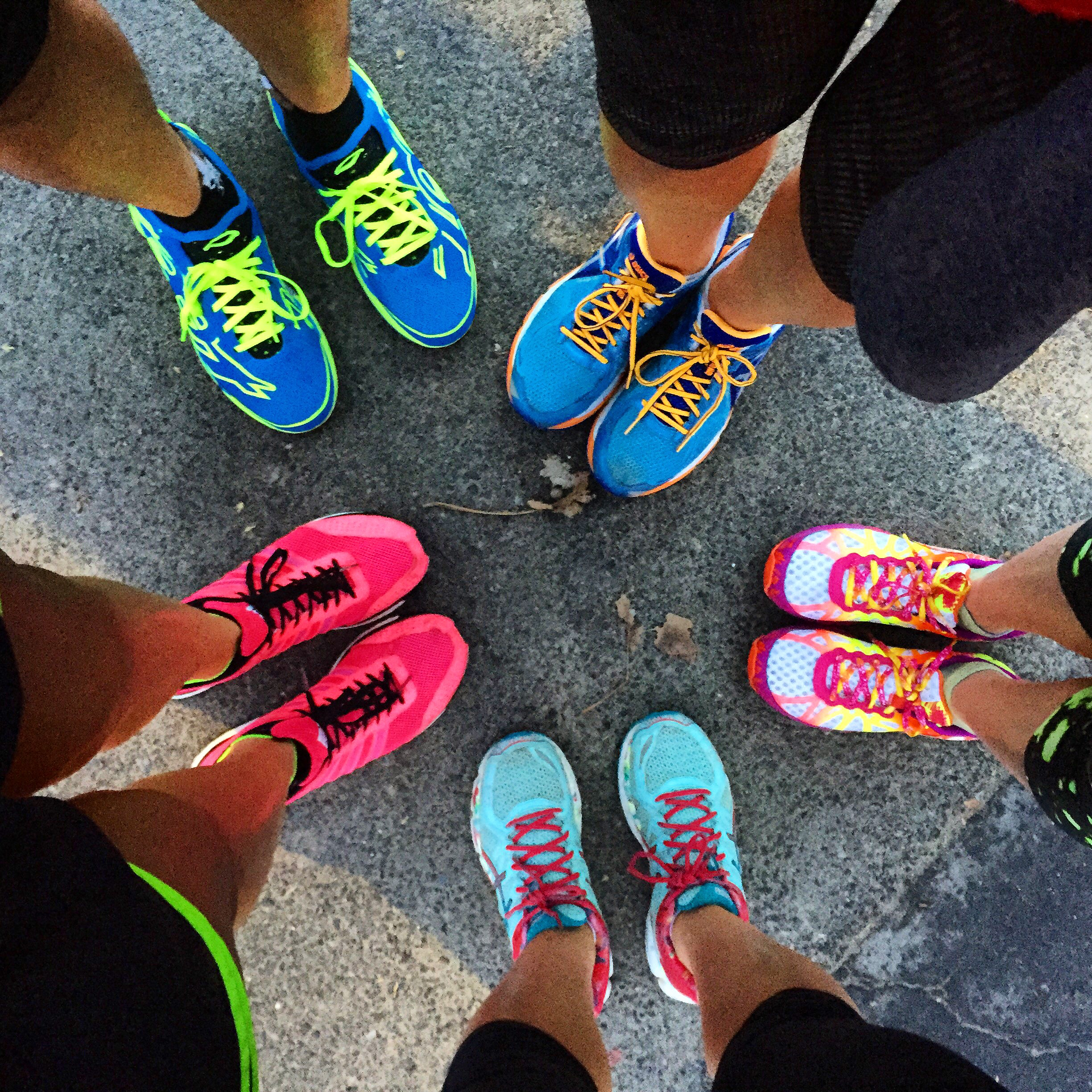 Post 5K sneaker shot with my teammates! 6am runs are much easier with friends.