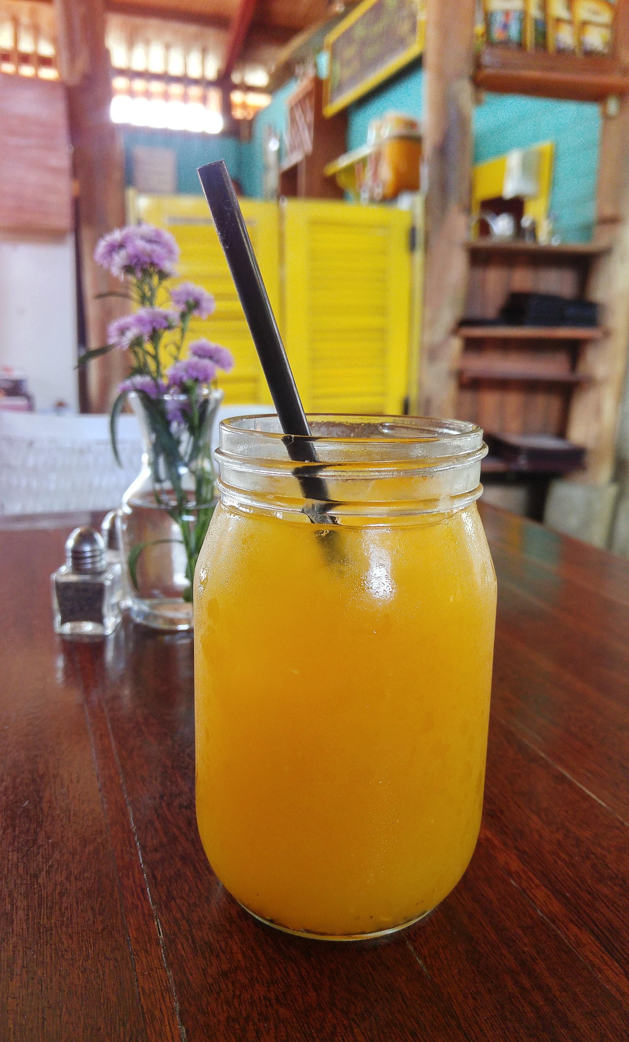 Fresh blended mango juice.