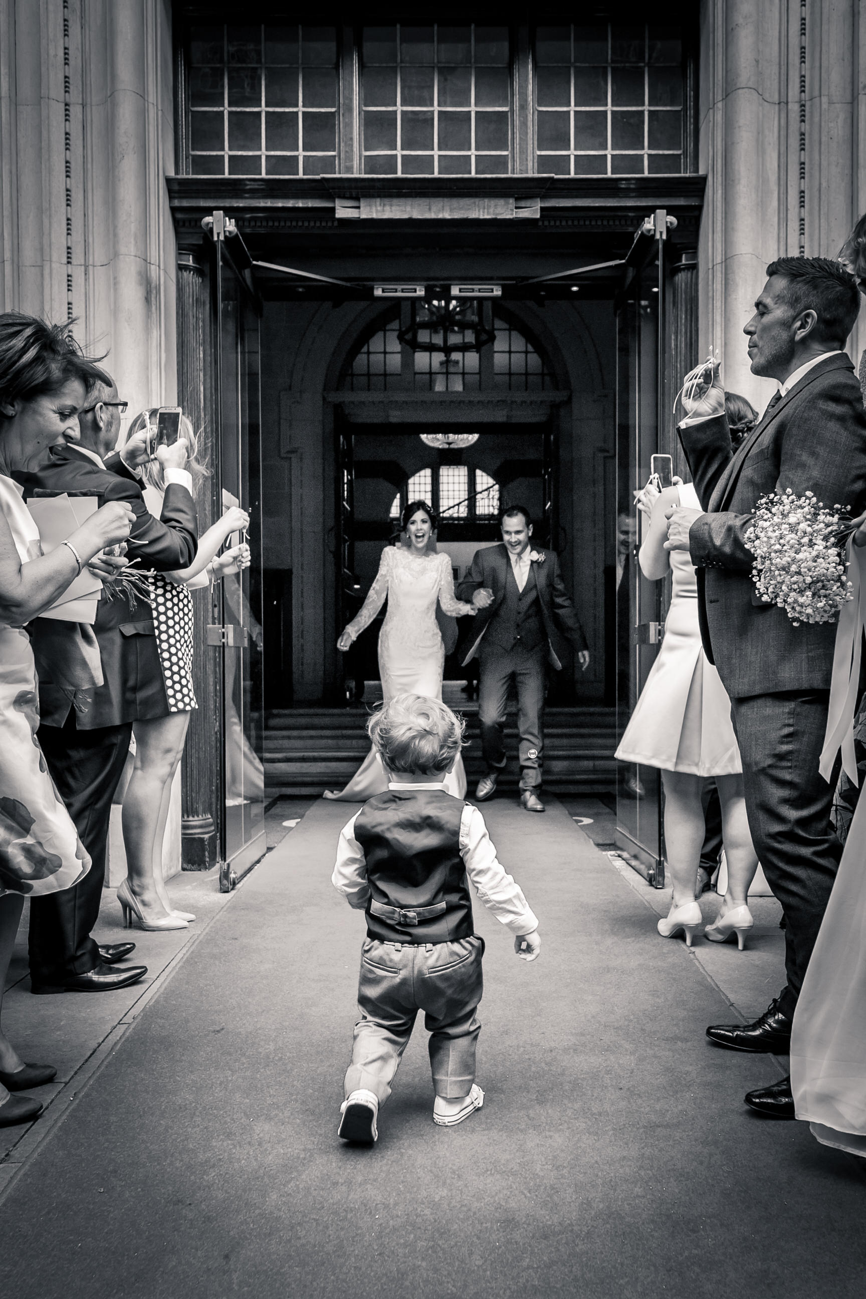 Little one running to Bride at The Grad Hotel and Spa, York