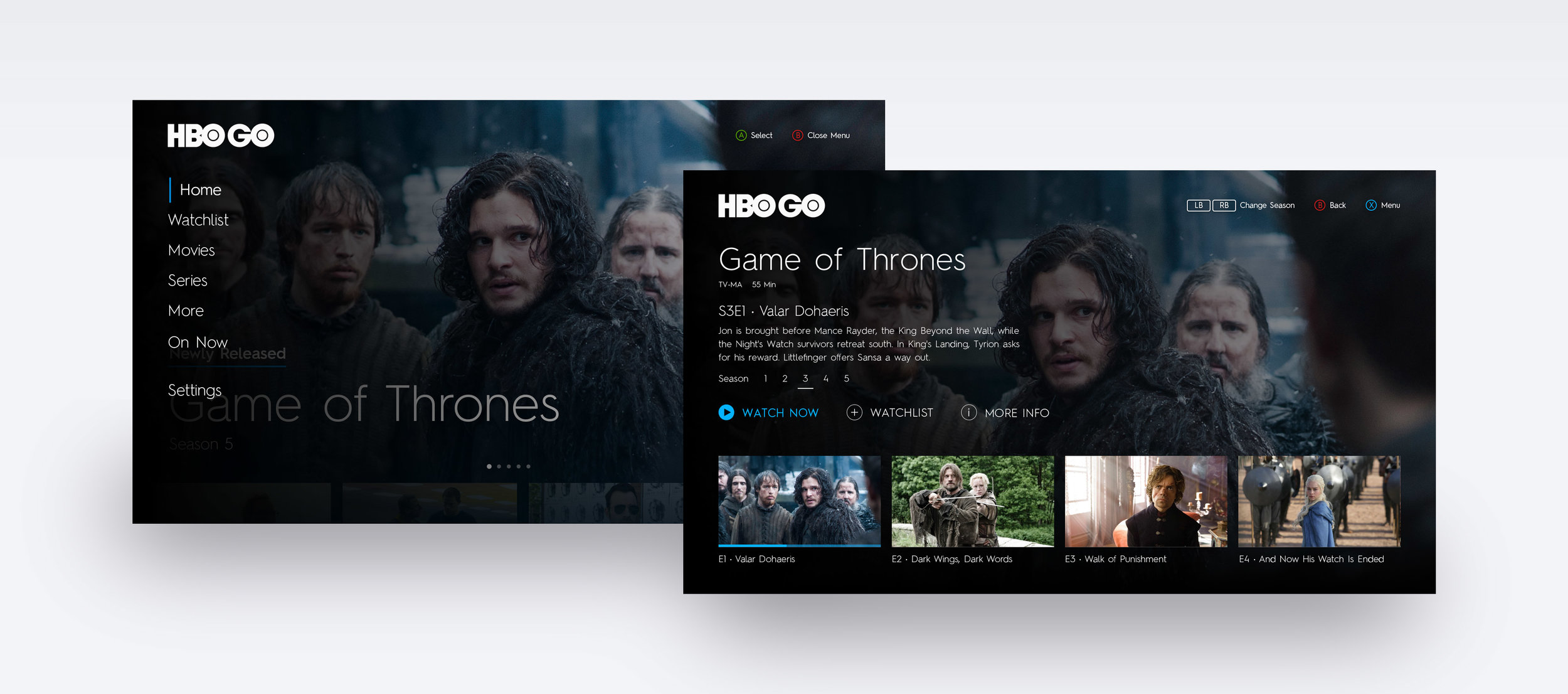 Menu screen overlay and Episode Detail Screen