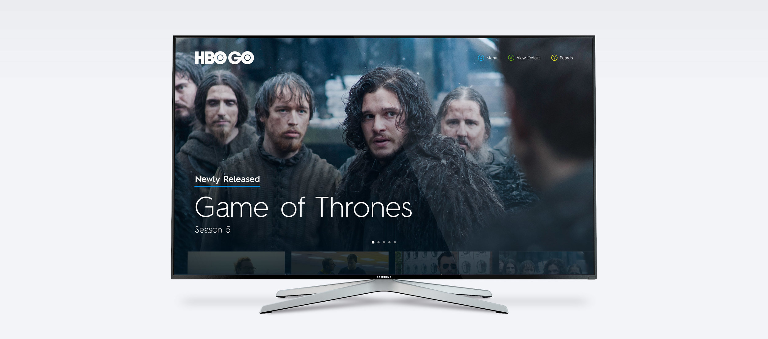 Home screen design for the HBO GO Xbox App (2014).