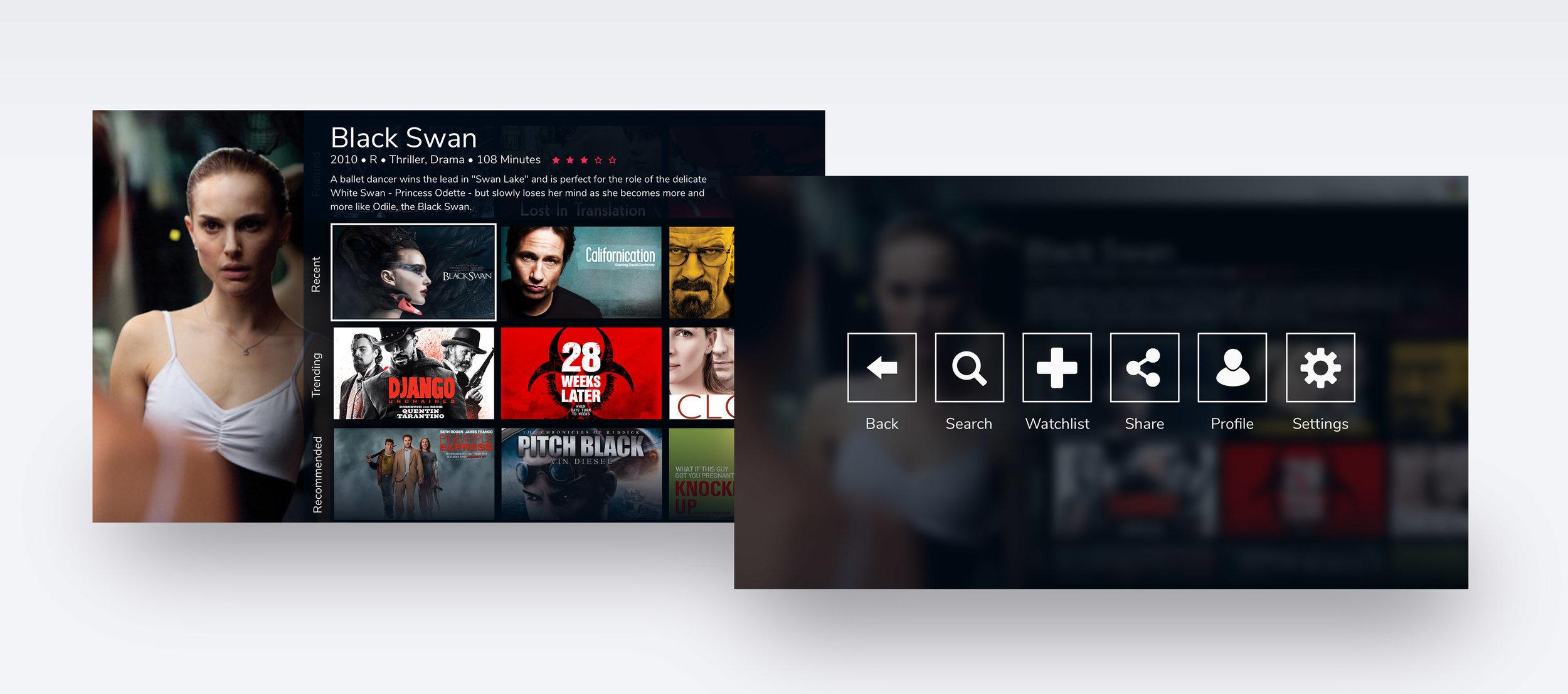 Home screen and menu overlay