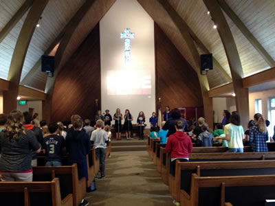 Parents and grandparents are always welcome at our weekly chapel.