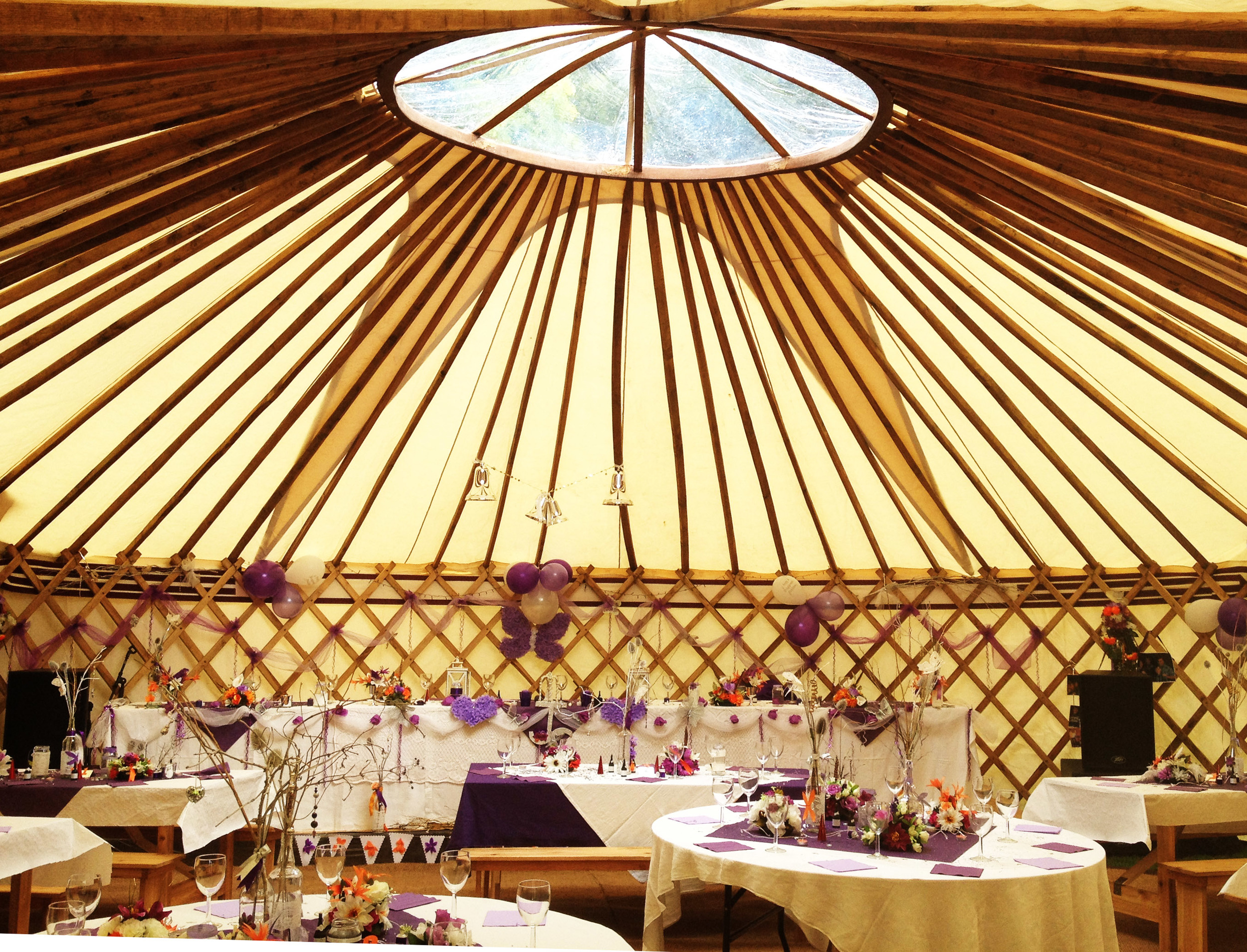 36ft yurt laid up for a wedding.