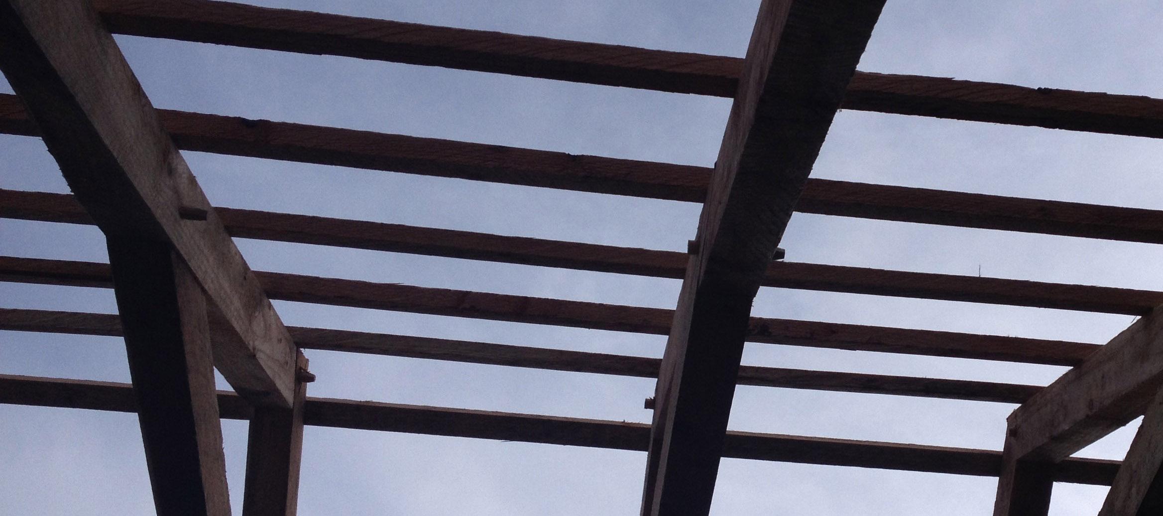 Shaker shed roof frame in douglas fir.