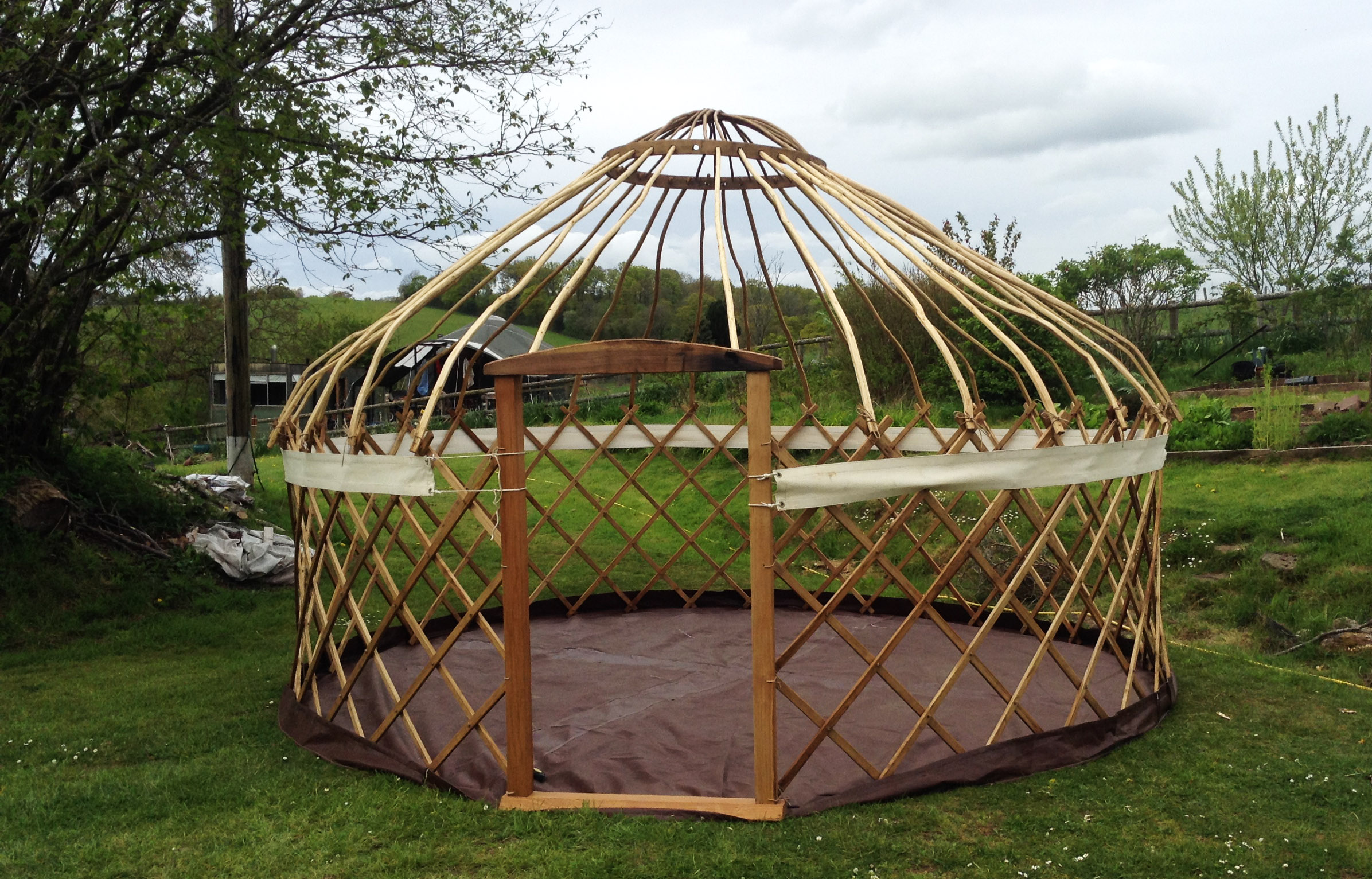 14ft chestnut and ash yurt frame ready for canvas.