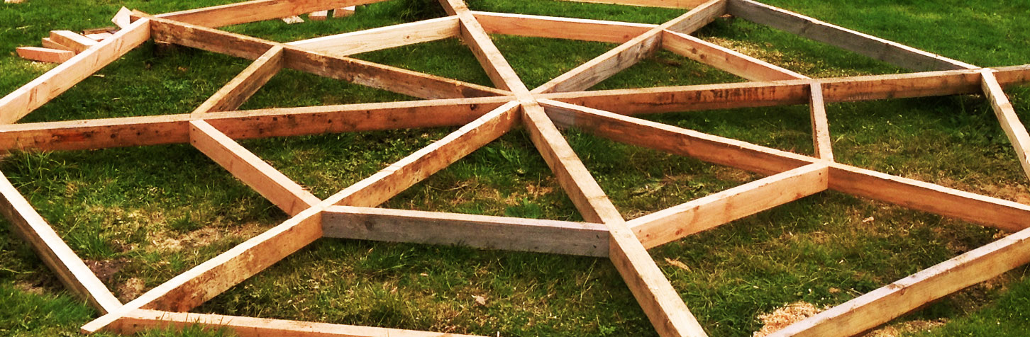 Frame for yurt decking in Larch.