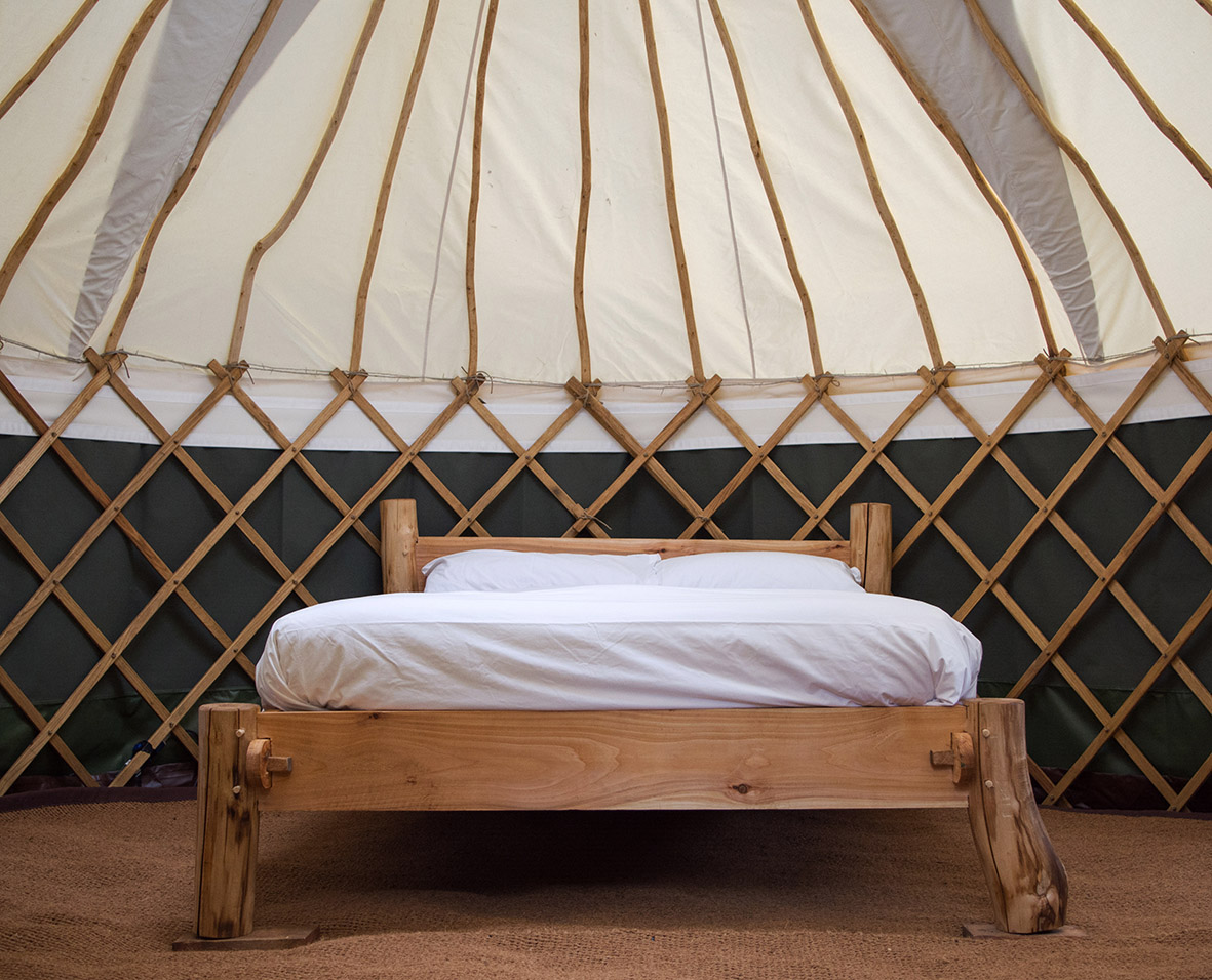 15ft yurt and timber framed bed.