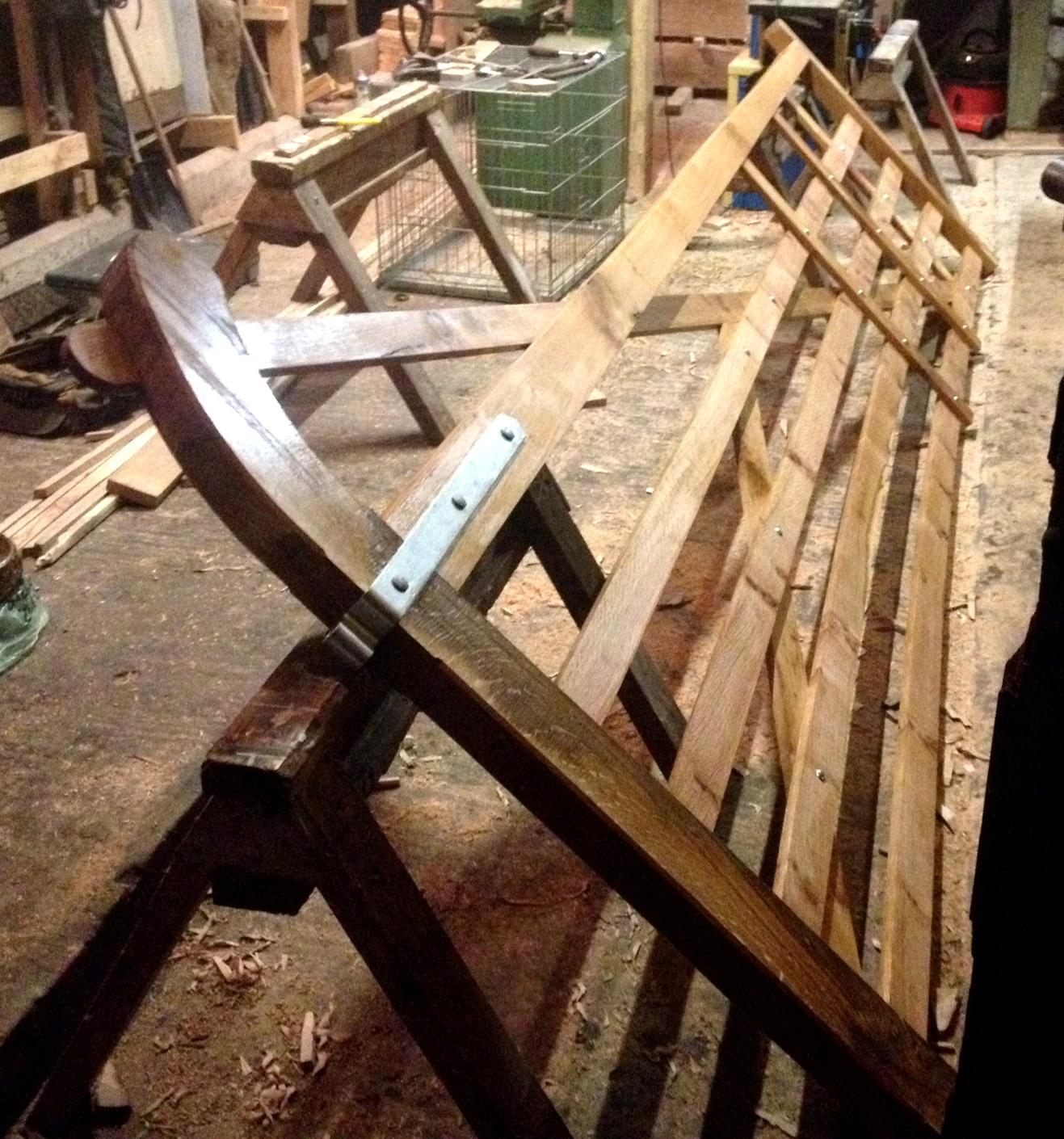 Oak gate in the workshop.