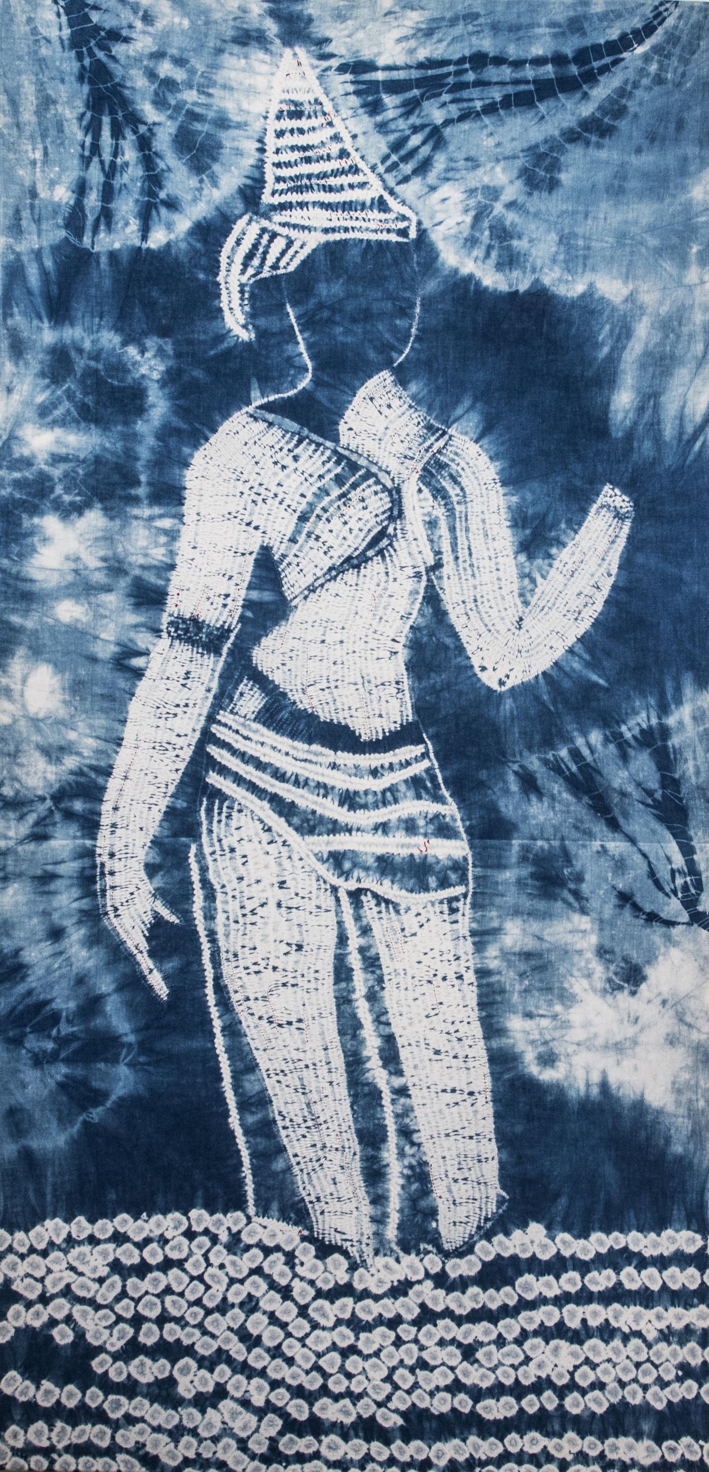 """Pavarti Prepares to Dance"" shibori and indigo on cottons  Photo Credit: JC Johnson"