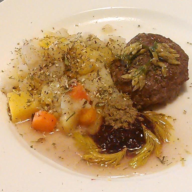 Hesteburgere krydret med blomsterkrydder. Servert sammen med helnorsk sennep laget på russekålfrø, pepperot, kombucha og honning. Tyttebærsyltetøy. Melkesyregjærede granskudd. Ramsløkblomster konservert i olivenolje.