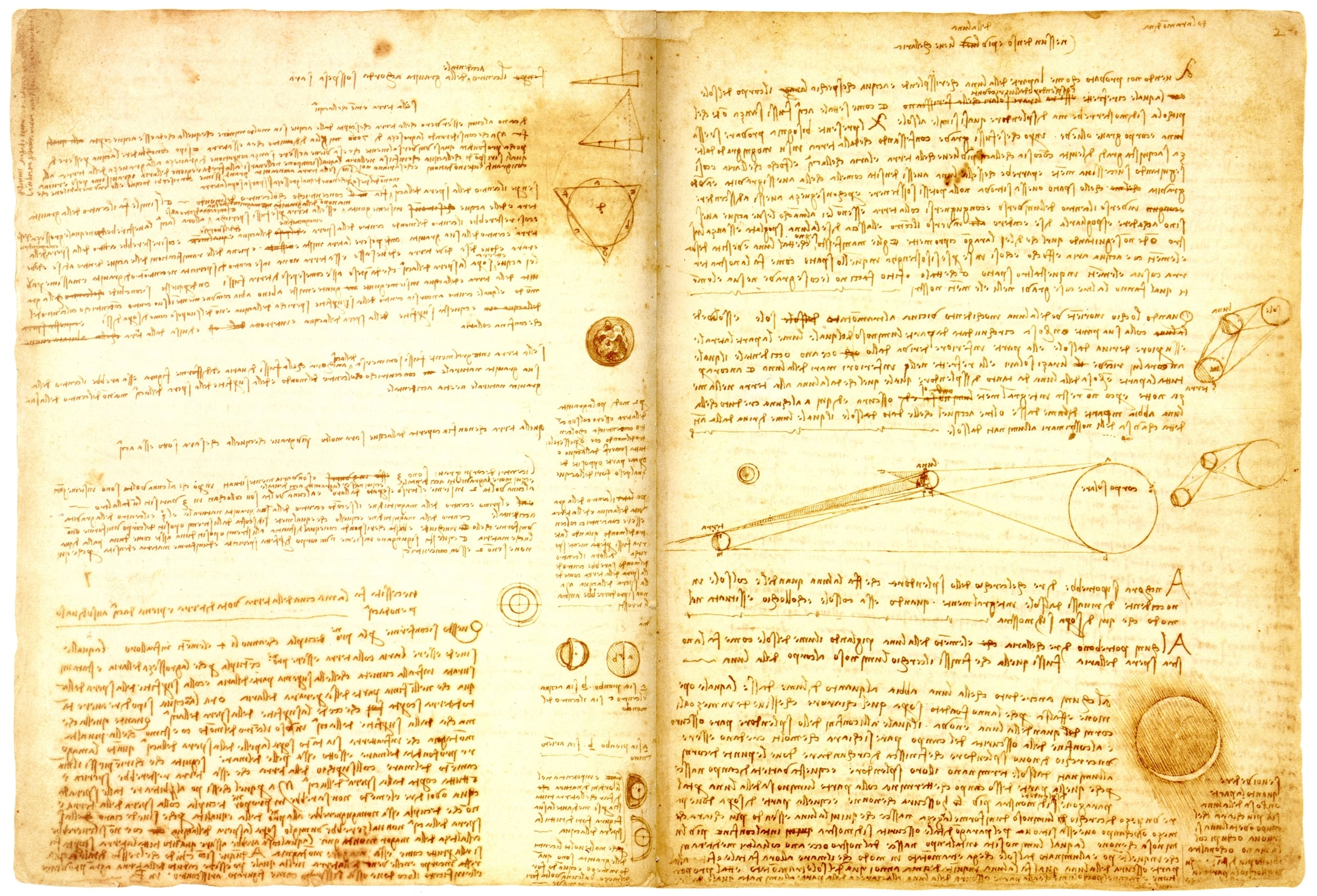 Codex Leicester , Hammer 2A - Fol.35v (left) and Fol.2r (right). Photo  credit .