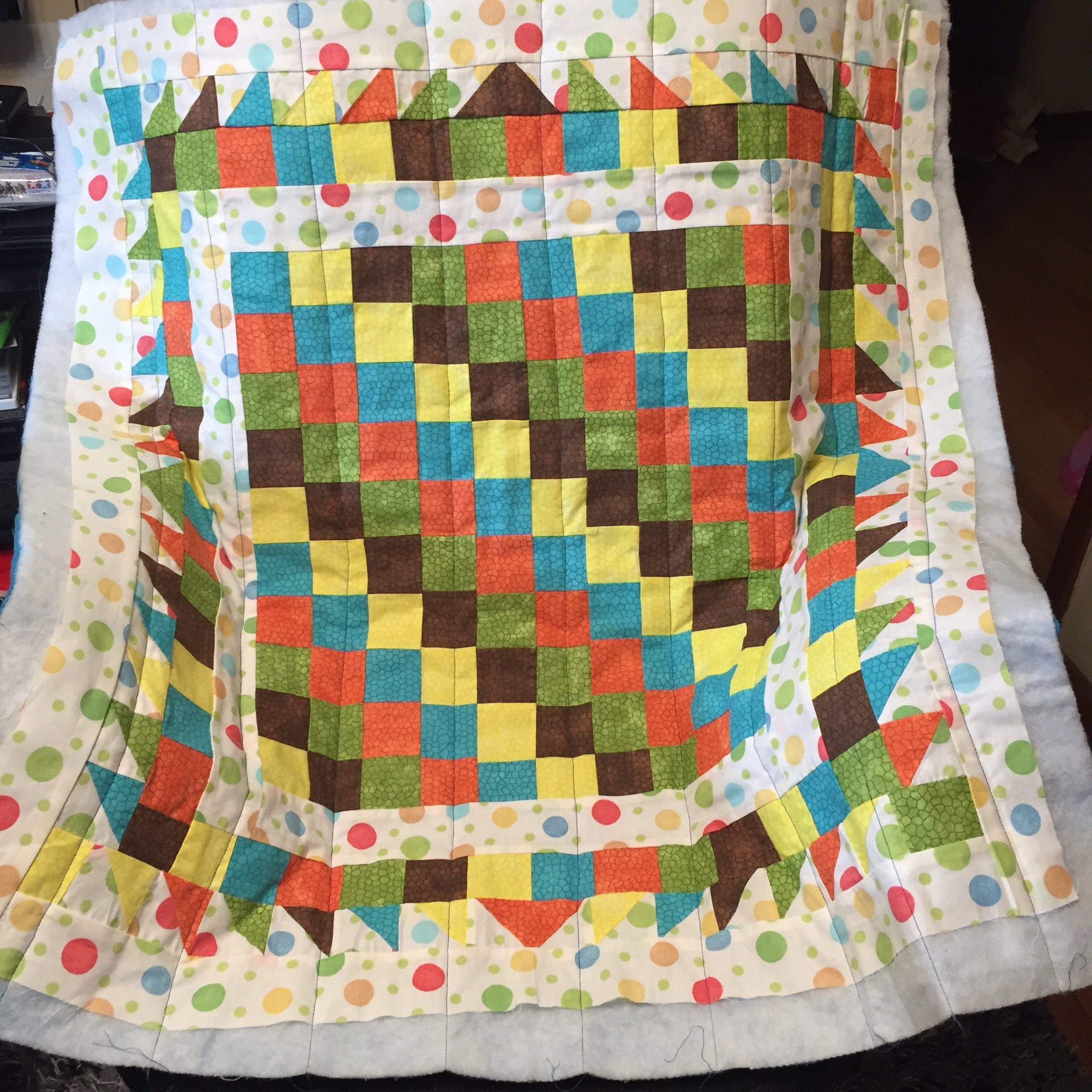 Batting and backing attached and quilted together!