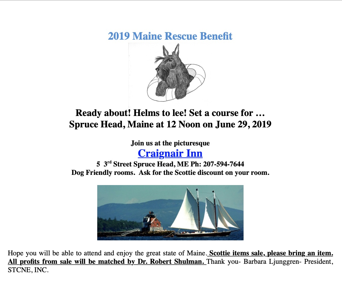 Wow. A unique opportunity to benefit our Scottish Terrier Breed. Gifts are matched and a great time for all.