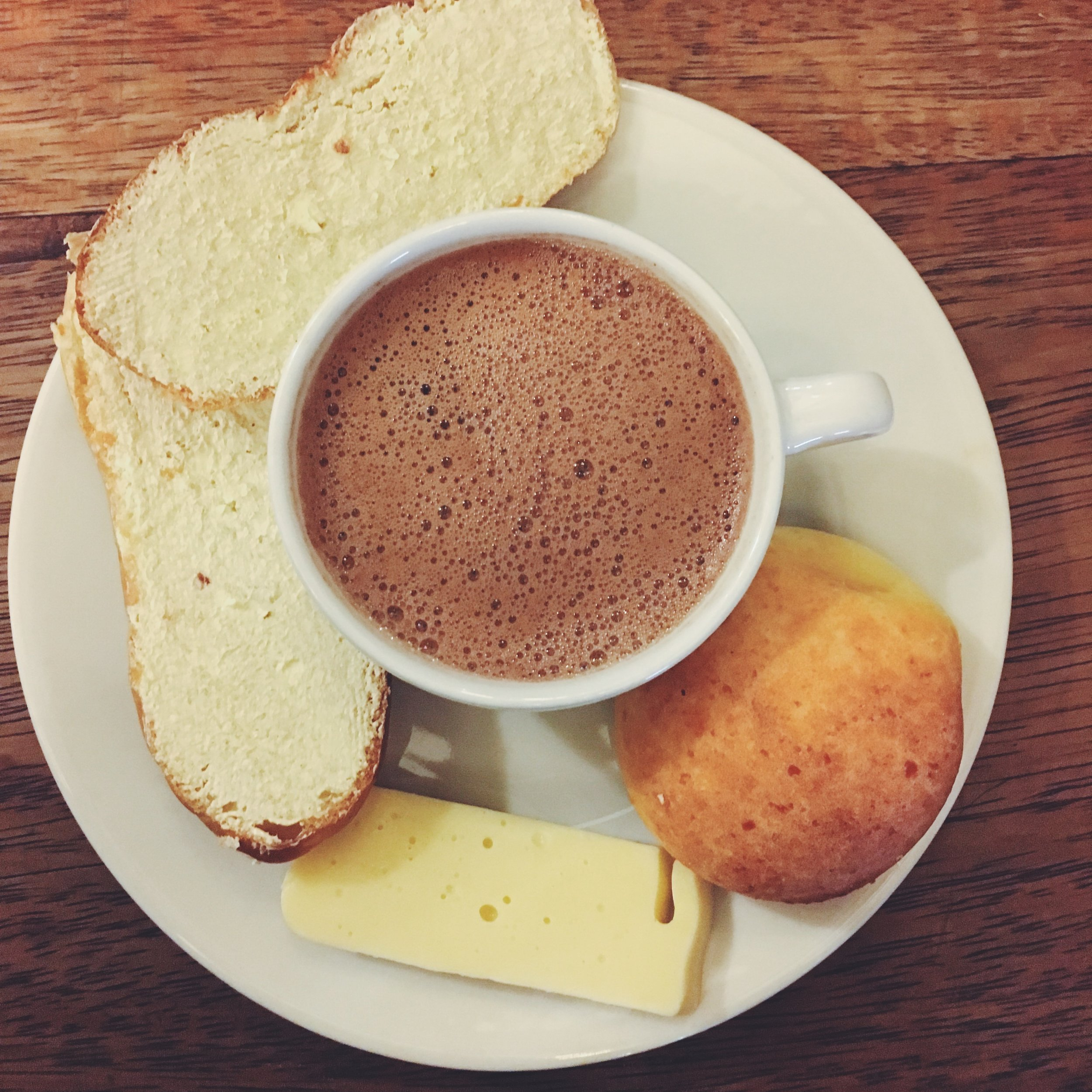 Chocolate Completo  Colombian Hot Chocolate with cheese and buttery bread