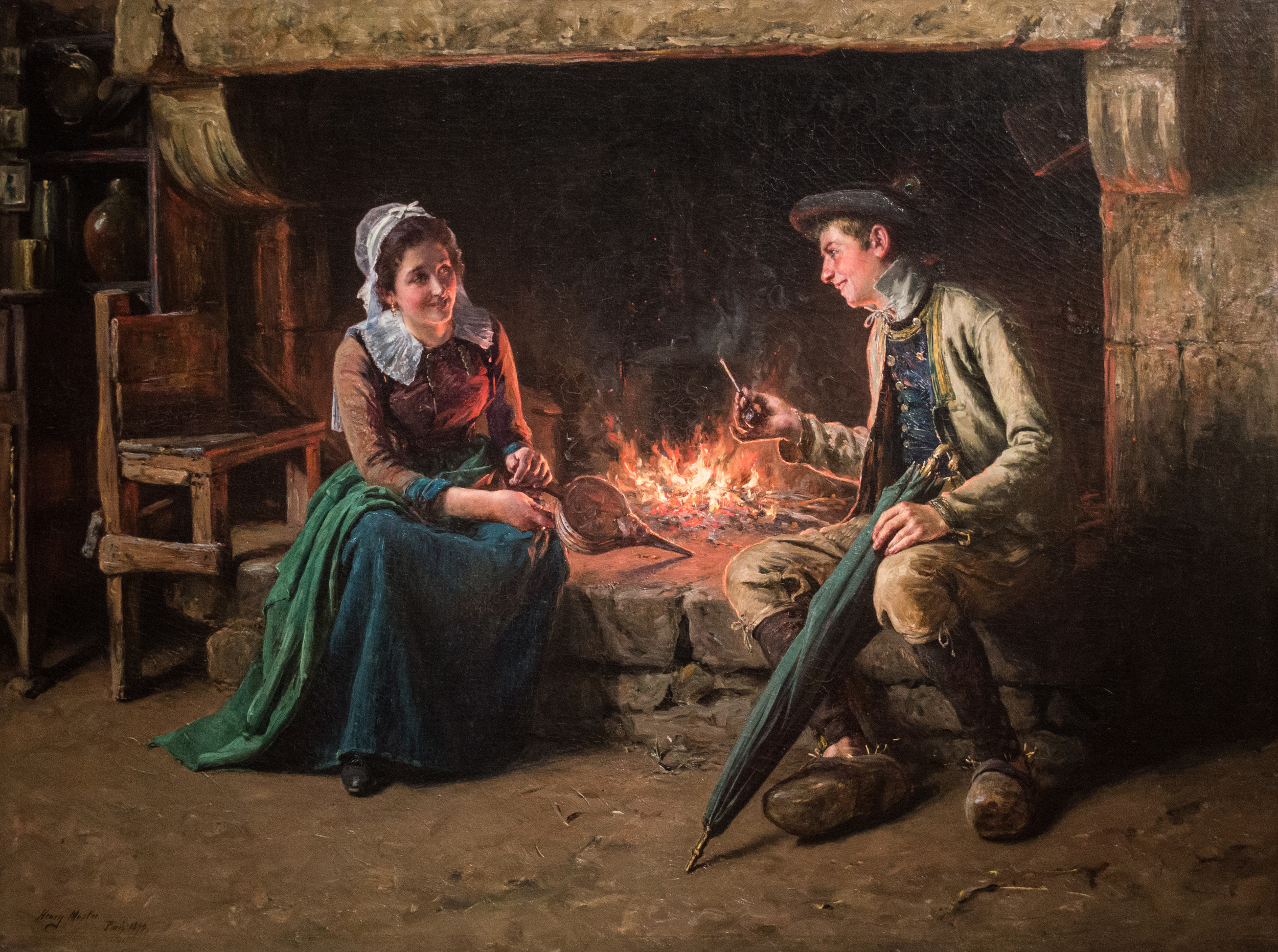 Henry Mosler (American, b.1841, d.1920),The Chimney Corner, 1893,oil on canvas, Cincinnati Art Museum,Gift of Mrs. Samuel B. Sachs,1928.136