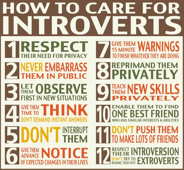 Source: Google.  Just search How to Care for Introverts.  No, I won't  do it for you .
