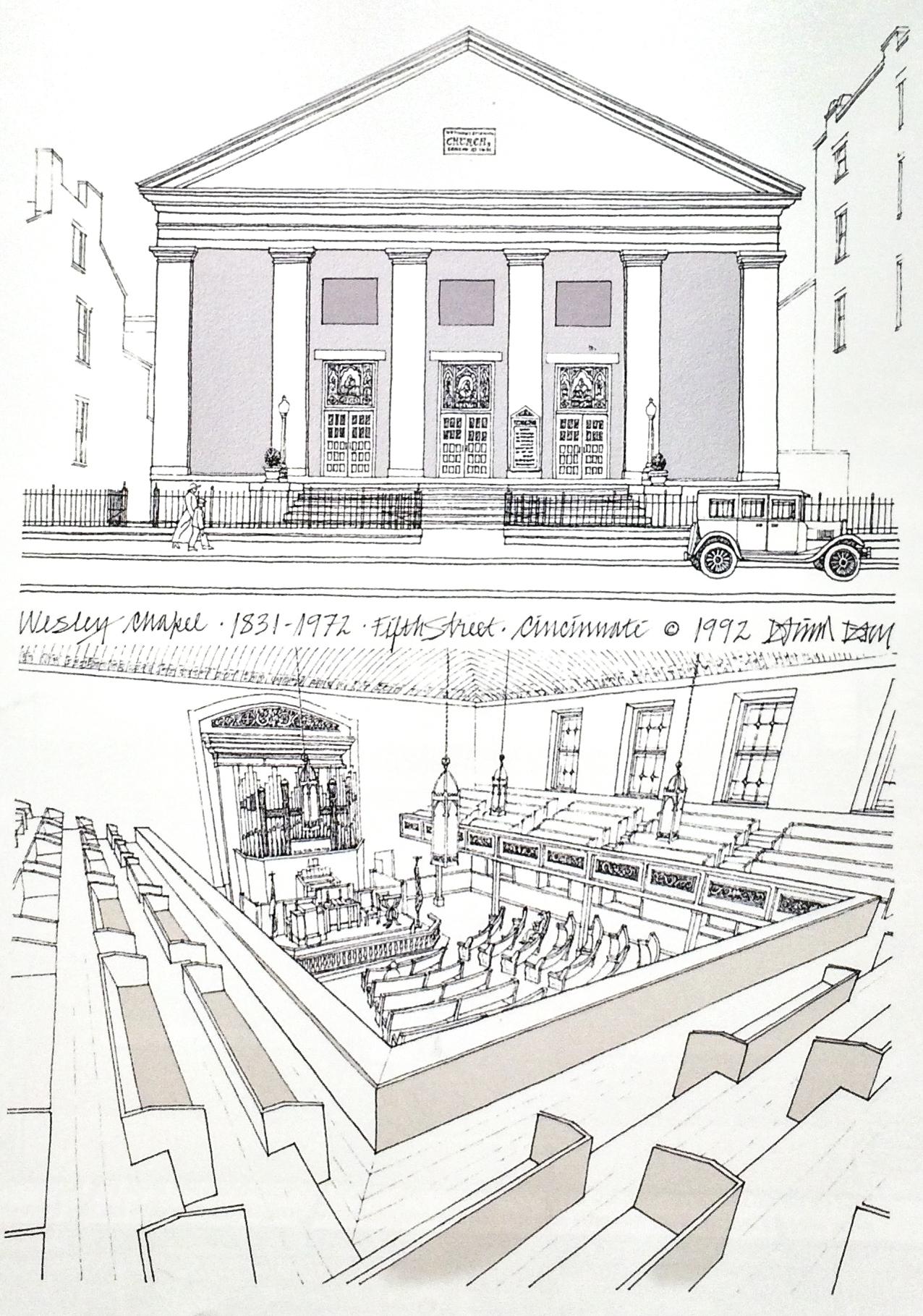 "Illustration of Wesley Chapel from "" Vanishing Cincinnati "" by David and Barbara Day."