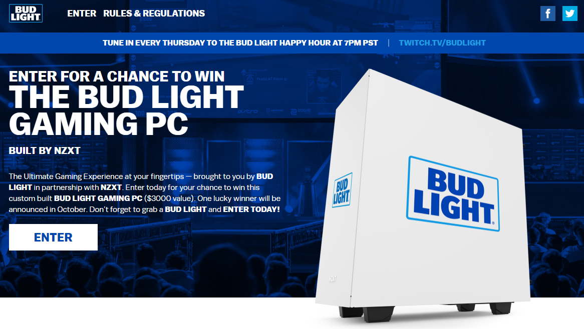 Custom Build done for NZXT and the Bud Light Gaming PC Giveaway