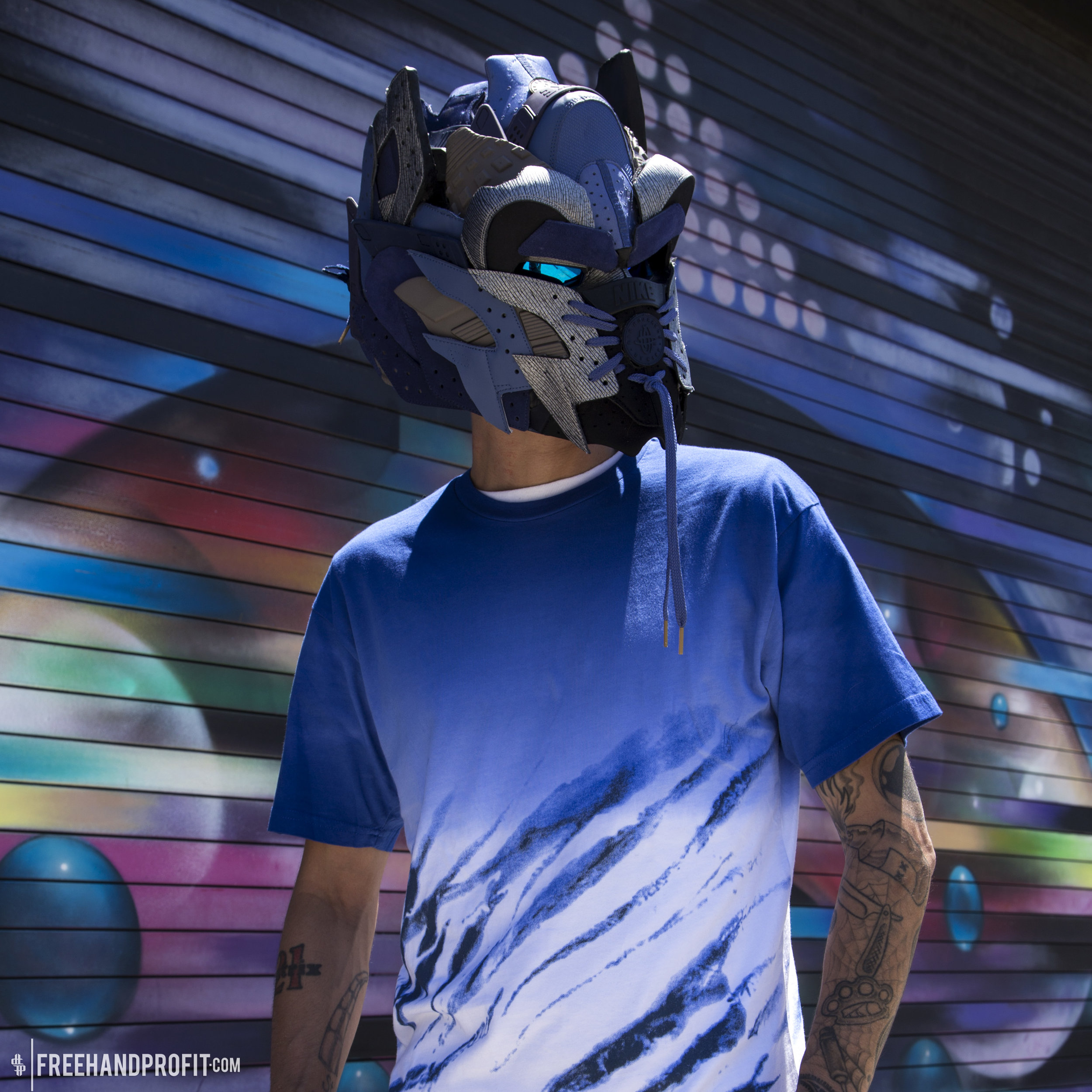 NEW SNEAKER MASK   Check out the 148th sneaker mask by Freehand Profit, an Optimus Prime helmet made from Nike Air Huaraches!