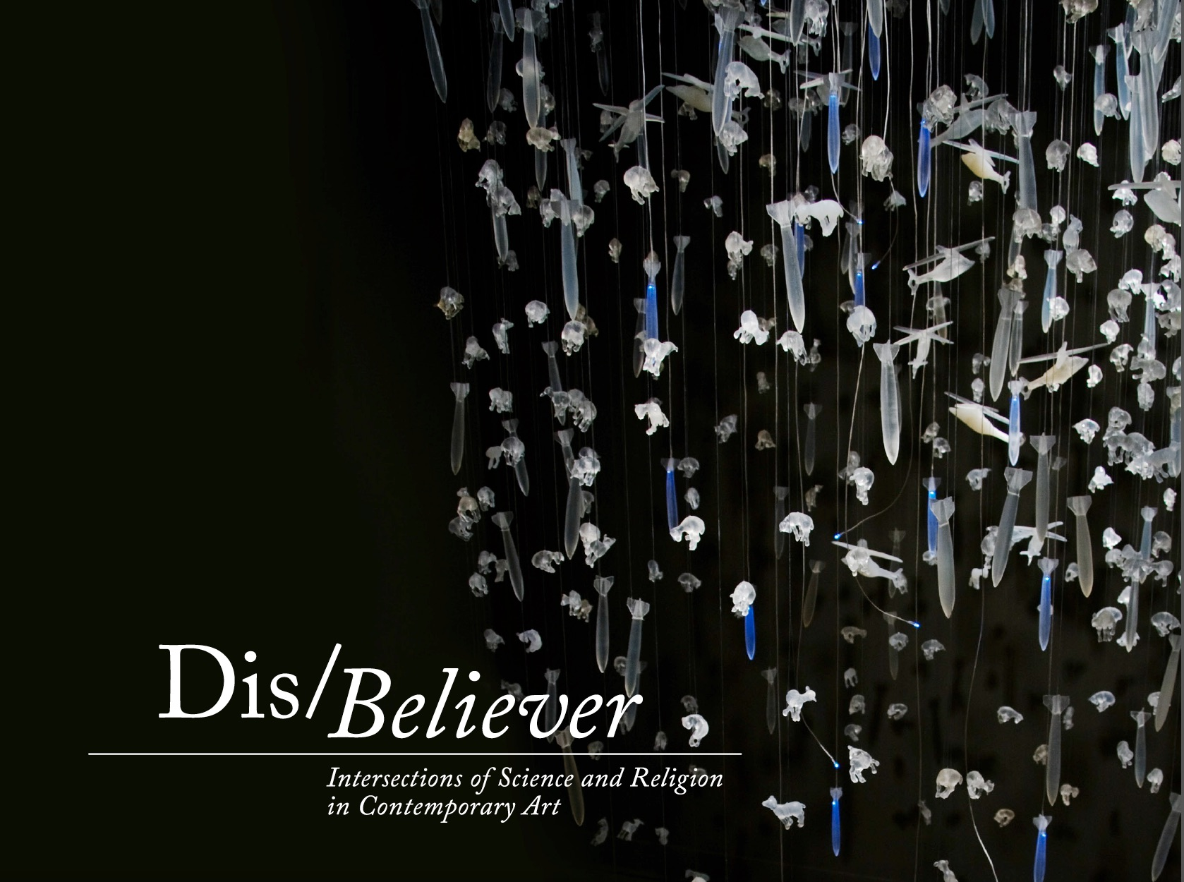 """Dis/Believer  gives focus to contemporary artists who engage in ideas and moments when science and religion intersect. The concept is inspired by the ever-deepening conflict surrounding the reconciliation of scientific theory and spiritual faith, due to an explosive rebirth of religious fundamentalism and rivaling exponential discoveries in science. Debates on the compatibility of the natural and supernatural are raging in many forms of media and often feature scientist versus theologian, fundamentalist against atheist, and evolutionist opposed to creationist. The resulting dialogue is illuminating, divisive and exhilarating.  Visual artists are grappling with this concern and expanding the discourse in provocative and enlightening directions.  Dis/Believer  gathers a diverse selection of media in a conversation that spans from the origins of life to ethics in biotechnology, and from predictions of apocalypse to technology's role in faith. The grouping of artists offers a fresh and fascinating perspective on the complex debate of science and religion.   Participating artists : CarianaCarianne,  Compassionate Action Enterprises,  Teresa Diehl,  The Glue Society,  Industry of the Ordinary,  Kysa Johnson,  Marci MacGuffie , Joe Meiser, Trong Nguyen,  Joshua Thorson. Sandra Yagi      Related programming:  Panel Discussion, """"Evidence of Things Un/Seen:The Art of Reconciling Science& Religion""""; and a performance by Industry of the Ordinary,  Ten (Reprise),  at the opening reception.  Curated by Neysa Page-Lieberman.  Click below to see the exhibition catalogue. (Contact me to request a hard copy.) Includes essay by philosopher Stephen Asma."""