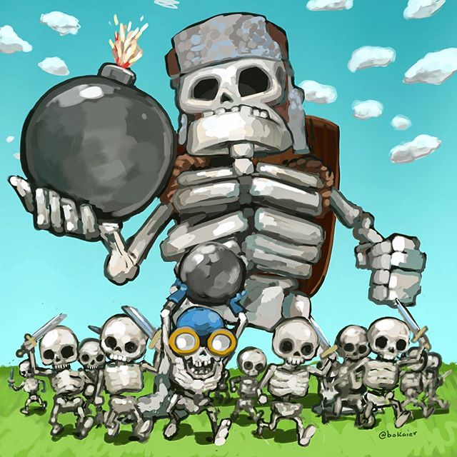 The Skeletal Horde: Clash Royale. Trying to stick w the drawing a day cadence, got some wrist soreness.  2.5 hours, started with pen drawing, finished on iPad with stylus. #Bo365 sketchy art. | | #clashroyale #clash #clashofclans #fanart #games #drawing #illustration #artwork #artist #instadaily #igdaily #instaart #sketch #sketchaday #painting #digitalart #digitalpainting #instaartist #instadraw #artstagram #artistsoninstagram